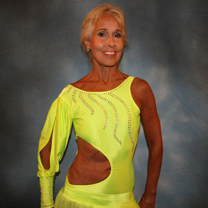 Crystal's Creations close up view of florescent yellow theatrical ballroom show dance dress