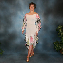 Load image into Gallery viewer, Crystal's Creations White ballroom converta dress created in white glitter slinky & rose print chiffon consisting of a Latin/rhythm dress with cascades of flounces on sleeves & skirt bottom