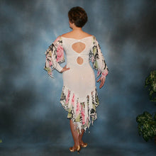 Load image into Gallery viewer, Crystal's Creations back view of White ballroom converta dress created in white glitter slinky & rose print chiffon consisting of a Latin/rhythm dress with cascades of flounces on sleeves & skirt bottom