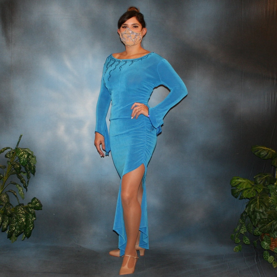 Crystal's Creations blue Latin/rhythm dress created of luxurious blue slinky, embellished with Swarovski detailed rhinestone work