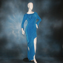Load image into Gallery viewer, Crystal's Creations blue Latin/rhythm dress created of luxurious blue slinky, embellished with Swarovski detailed rhinestone work