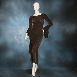 Crystal's Creations brown Latin dress created in luxurious deep chocolate brown slinky with side ruching