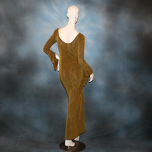 Load image into Gallery viewer, back view of Sage green Latin/rhythm/social dress created of luxurious sage green slinky features ruching up the right side & long sleeves with an open flared detail.