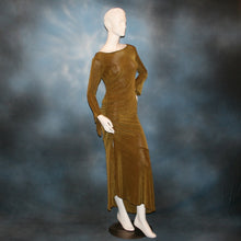 Load image into Gallery viewer, side view of Sage green Latin/rhythm/social dress created of luxurious sage green slinky features ruching up the right side & long sleeves with an open flared detail.