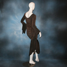 Load image into Gallery viewer, Crystal's Creations back view of brown Latin dress created in luxurious deep chocolate brown slinky