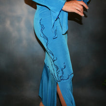Load image into Gallery viewer, Crystal's Creations close up side view of blue slinky Latin/rhythm dress with detailed blue Swarovski rhinestone work