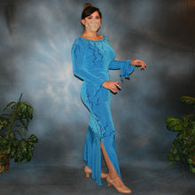 Load image into Gallery viewer, Crystal's Creations side view of blue slinky Latin/rhythm dress with detailed blue Swarovski rhinestone work