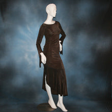 Load image into Gallery viewer, Crystal's Creations side view of brown Latin dress created in luxurious deep chocolate brown slinky
