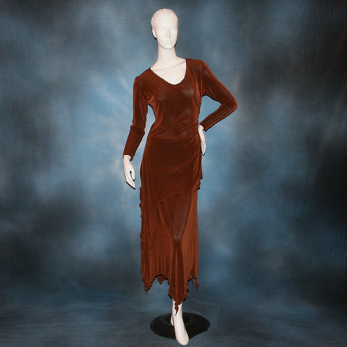 Cinnamon brown long sleeve angle cut tunic top includes A-line skirt with angle cuts of cinnamon brown colored solid slinky fabric, of which the tunic top can be worn as a simple Latin/rhythm dress... can be custom created in many colors.