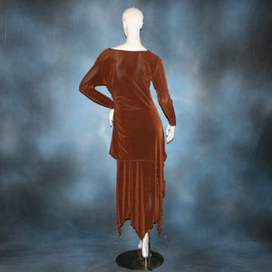 back view of Cinnamon brown long sleeve angle cut tunic top includes A-line skirt with angle cuts of cinnamon brown colored solid slinky fabric, of which the tunic top can be worn as a simple Latin/rhythm dress... can be custom created in many colors.