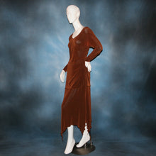 Load image into Gallery viewer, side view of Cinnamon brown long sleeve angle cut tunic top includes A-line skirt with angle cuts of cinnamon brown colored solid slinky fabric, of which the tunic top can be worn as a simple Latin/rhythm dress... can be custom created in many colors.