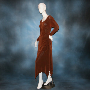 side view of Cinnamon brown long sleeve angle cut tunic top includes A-line skirt with angle cuts of cinnamon brown colored solid slinky fabric, of which the tunic top can be worn as a simple Latin/rhythm dress... can be custom created in many colors.