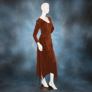 right side view of Cinnamon brown long sleeve angle cut tunic top includes A-line skirt with angle cuts of cinnamon brown colored solid slinky fabric, of which the tunic top can be worn as a simple Latin/rhythm dress... can be custom created in many colors.