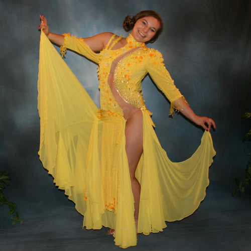 Crystal's Creations Yellow ballroom dress created in sunny yellow slinky glitterknit with glitter gold flocked yellow chiffon