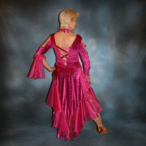 Crystal's Creations back view of fuchsia Latin dress on sale