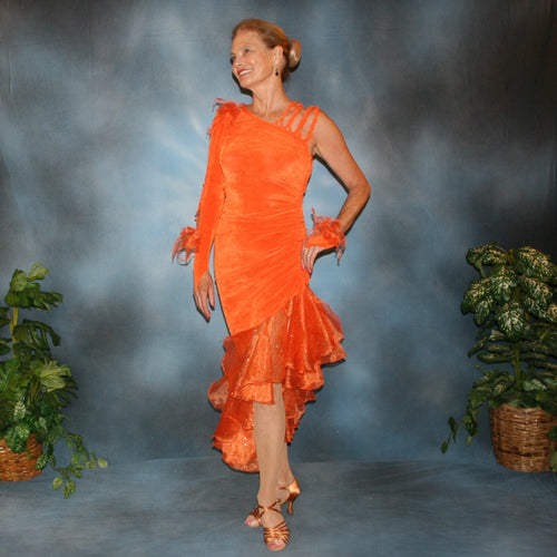 Crystal's Creations orange Latin dress created in orange slinky with orange glitter organza flounces