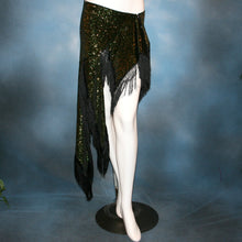 Load image into Gallery viewer, Crystal's Creations Green Latin/skirt skirt, wrap style, was created with luxurious green glitter slinky & chainette fringe. There is just enough of the gorgeous fabric to custom create a bodysuit to go with it for an extra fee, possibly two...one on the simple classy side for ballroom social dances & the other could be more elaborate with Swarovski work for ballroom showcases or competitions, making it a converta ballroom dance set!