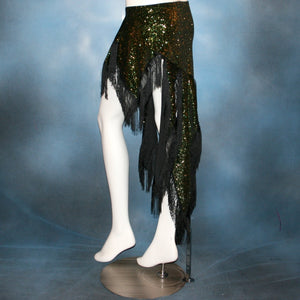 Crystal's Creations side view of green Latin fringy skirt created of luxurious green glitter slinky