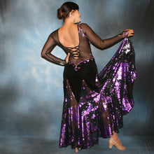 Load image into Gallery viewer, Crystal's Creations back view of black ballroom dress created from luxurious black solid slinky