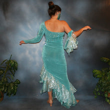 Load image into Gallery viewer, Crystal's Creations back view of aqua Latin dress created in aqua luxurious solid slinky with glitter organza flounces, aqua Swarovski rhinestone work & hand beading