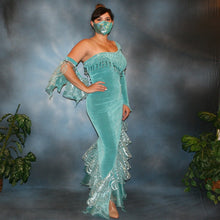 Load image into Gallery viewer, Crystal's Creations side view of aqua Latin/rhythm dress created in aqua luxurious solid slinky with glitter organza flounces, auqua Swarovski rhinestone work & hand beading