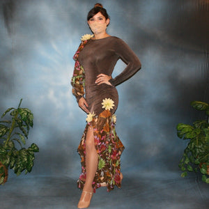 Crystal's Creations brown ballroom dress created of luxurious chocolate brown slinky along with fall flowers print chiffon