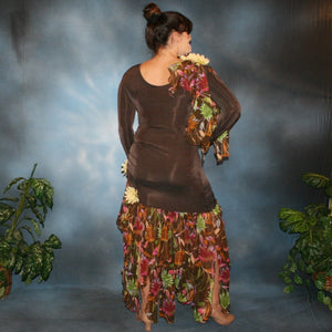 Crystal's Creations back view of brown ballroom dress created in luxurious deep chocolate brown slinky along with fall flowers print chiffon