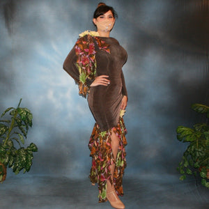 Crystal's Creations side view of brown ballroom dress created of luxurious chocolate brown slinky along with fall flowers print chiffon
