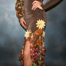 Load image into Gallery viewer, Crystal's Creations side bottom view of brown ballroom dress created of luxurious chocolate brown slinky along with fall flowers print chiffon