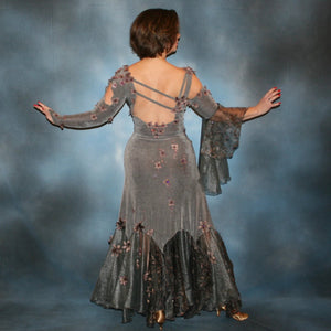 Crystal's Creations back view of Elegant smoke grey ballroom dress was created in luxurious smoke grey solid slinky with gorgeous & delicate floral pattern organza flouncing of smoke grey with gorgeous orchid floral design