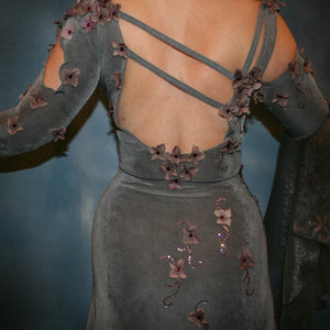 Crystal's Creations close up of back deatails on Elegant smoke grey ballroom dress was created in luxurious smoke grey solid slinky with gorgeous & delicate floral pattern organza flouncing of smoke grey with gorgeous orchid floral design