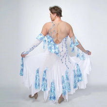 Load image into Gallery viewer, back view of White ballroom dress with blue accents was created on nude illusion of a soft white knit with flounce accents of sky blue & white floral print satin, embellished with sapphire Swarovski stonework & miniature white silk roses.