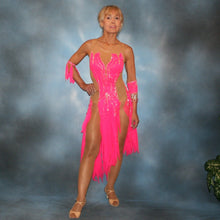 Load image into Gallery viewer, Crystal's Creations Hot pink Latin dress created of hot pink tricot chiffon overlayed on nude illusion base with flame effect is embellished with CAB Sawovski rhinestones & hand beading on sale!