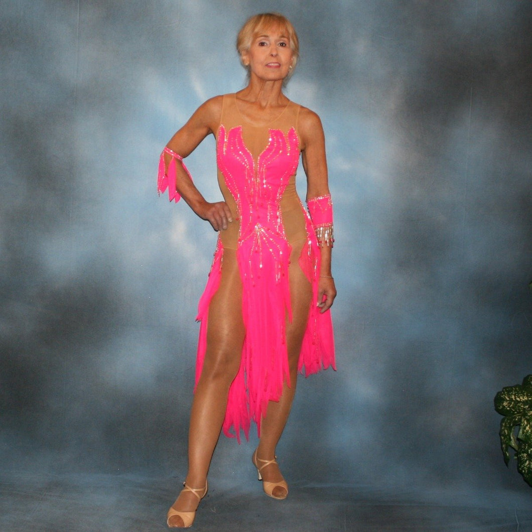 Crystal's Creations Hot pink Latin dress created of hot pink tricot chiffon overlayed on nude illusion base with flame effect is embellished with CAB Sawovski rhinestones & hand beading on sale!
