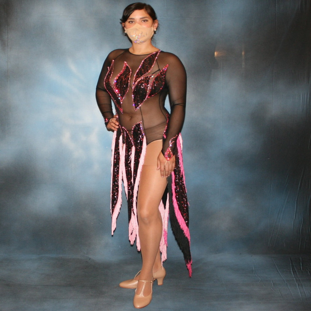 Crystal's Creations black Latin dress created on black sheer mesh with pink accents