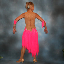 Load image into Gallery viewer, Crystal's Creations back view of Hot pink Latin dress created of hot pink tricot chiffon overlayed on nude illusion base with flame effect is embellished with CAB Sawovski rhinestones & hand beading on sale!