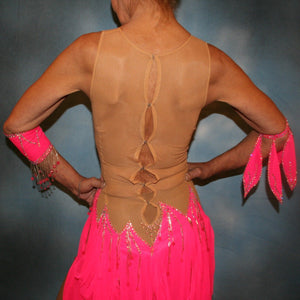 close back view of Hot pink Latin dress created of hot pink tricot chiffon overlayed on nude illusion base with flame effect is embellished with CAB Sawovski rhinestones & hand beading on sale!
