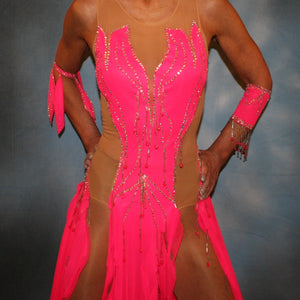 close view of Hot pink Latin dress created of hot pink tricot chiffon overlayed on nude illusion base with flame effect is embellished with CAB Sawovski rhinestones & hand beading on sale!