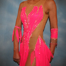 Load image into Gallery viewer, side view of Crystal's Creations Hot pink Latin dress created of hot pink tricot chiffon overlayed on nude illusion base with flame effect is embellished with CAB Sawovski rhinestones & hand beading on sale!