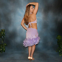 Load image into Gallery viewer, Crystal's Creations back view of Sassy orchid little two piece Latin/rhythm dress of orchid luxurious glitter stretch velvet with chandelle feathers at skirt edge & CAB Swarovski stones accenting peak of bodice & fully covering neck band