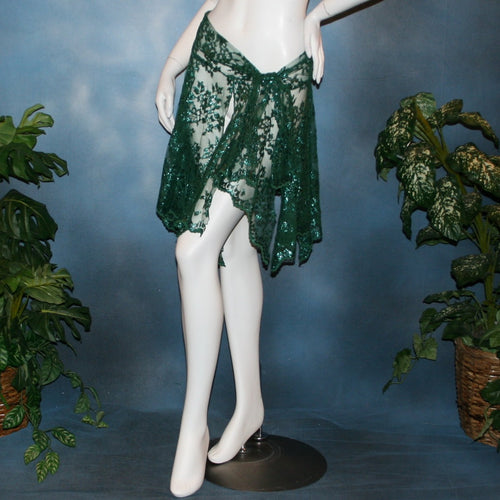 Crystal's Creations green metallic lace Latin skirt