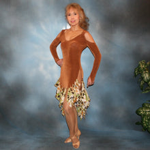 Load image into Gallery viewer, Crystal's Creations Latin/rhythm dance dress of luxurious cinnamon/ginger colored solid slinky with flounces of tropical/leopard print, enhanced with hand beading through out the flounces is a converta-ballroom dress