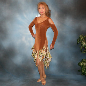 Crystal's Creations Latin/rhythm dance dress of luxurious cinnamon/ginger colored solid slinky with flounces of tropical/leopard print, enhanced with hand beading through out the flounces is a converta-ballroom dress