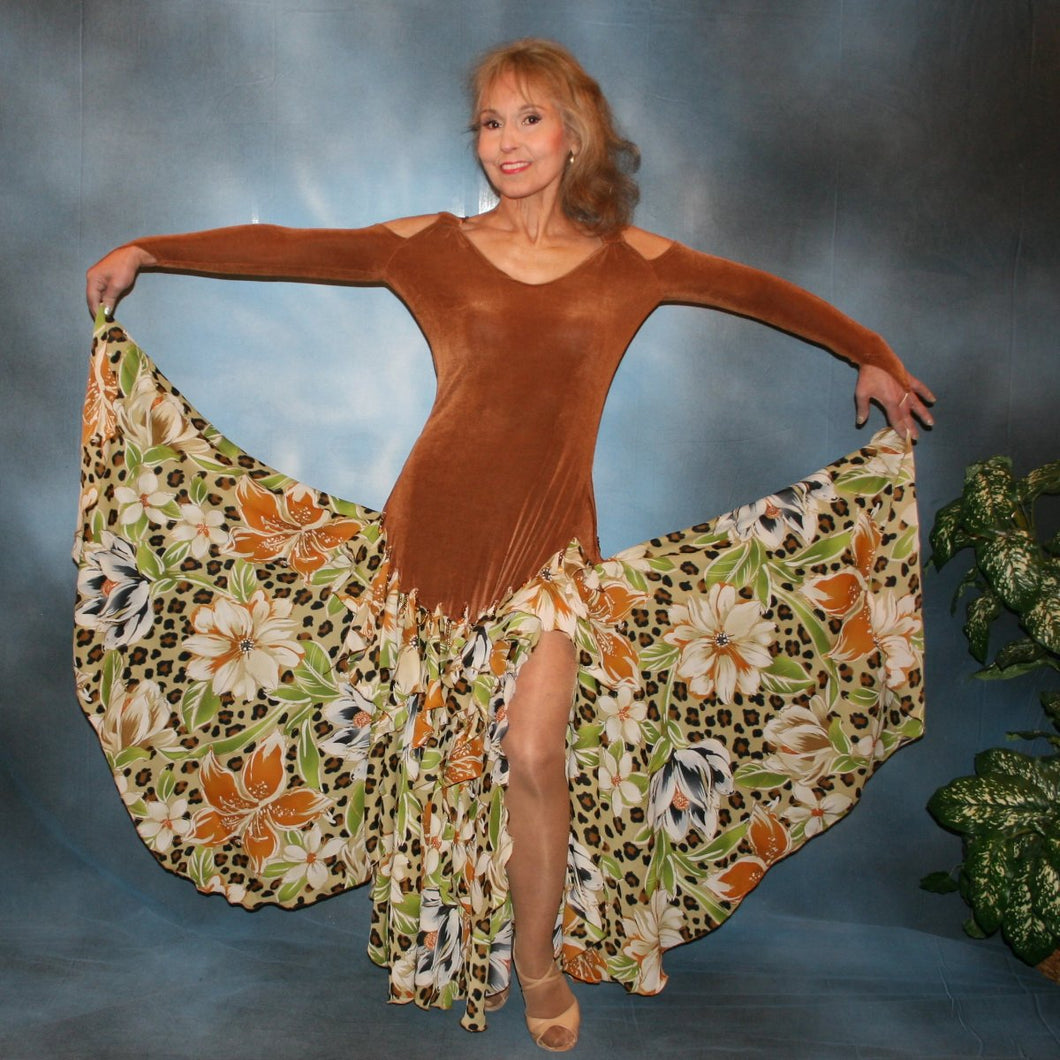 Crystal's Creations Latin/rhythm/ballroom dance dress of luxurious cinnamon/ginger colored solid slinky with flounces of tropical/leopard print, enhanced with hand beading through out the flounces is a converta-ballroom dress