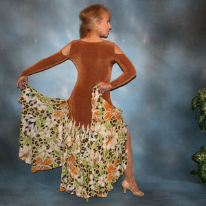 Crystal's Creations back view of Latin/rhythm/ballroom dance dress of luxurious cinnamon/ginger colored solid slinky with flounces of tropical/leopard print, enhanced with hand beading through out the flounces is a converta-ballroom dress