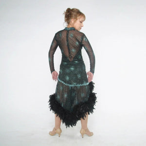 back view of Elegant black Latin/rhythm dance dress was created in a black glitter sheer mesh with aqua glitter bursts over black lycra body suit, embellished with jet AB Swarovski stones, hand beading, plus chandelle feathers.