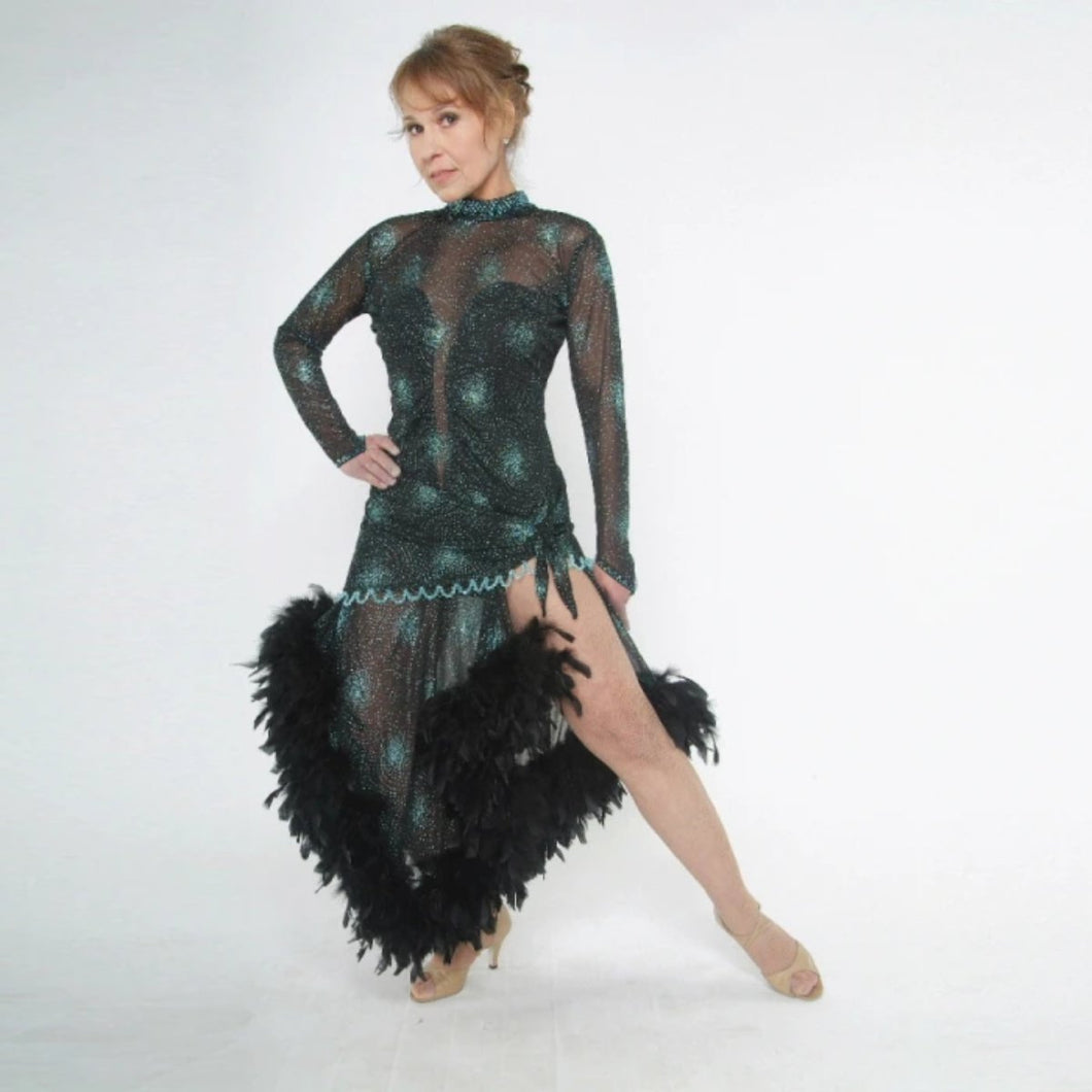 Elegant black Latin/rhythm dance dress was created in a black glitter sheer mesh with aqua glitter bursts over black lycra body suit, embellished with jet AB Swarovski stones, hand beading, plus chandelle feathers.