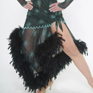 lower front view of Elegant black Latin/rhythm dance dress was created in a black glitter sheer mesh with aqua glitter bursts over black lycra body suit, embellished with jet AB Swarovski stones, hand beading, plus chandelle feathers.