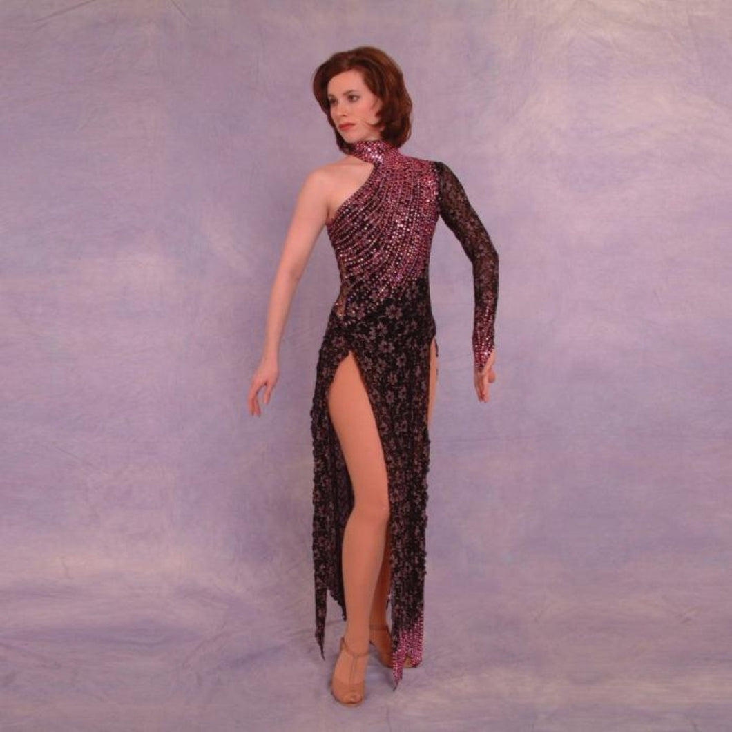 black lace Latin dress with pink Swarovski rhinestones