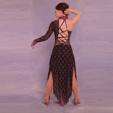 Load image into Gallery viewer, back view of black lace Latin dress with pink Swarovski rhinestones